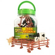 Boley Small Bucket Farm Animal Toys - 40 piece farm animal toy playset with animals and accessories - small bucket allows for easy storage and quick cleanup of your child's pretend play toys!