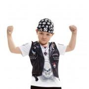 Viving Camiseta disfraz de motero del infierno para niño - Talla 8 a 10 años