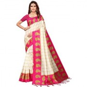 Indian Beauty Women's Pink Color Mysore Silk Printed Saree Border Tassels With Blouse Piece(WEDDING-PATTA-PINK_Free Size)