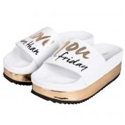 THE WHITE BRAND Sandali The White Brand High Friday Donna (Colore: bianco-oro-nero, Taglia: 40)