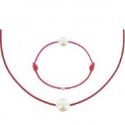 Les Poulettes Bijoux Set Collier et Bracelet Lien La Perle Blanche des Poulettes - Classics - Rouge