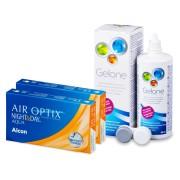 Air Optix Night and Day Aqua (2x3 лещи) + разтвор Gelone 360 мл.