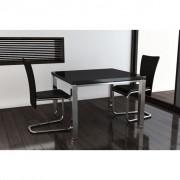 vidaXL 2 pcs Artificial Leather Iron Black Dining Chair