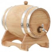 vidaXL Бъчва за вино с канелка, борова дървесина масив, 6 л
