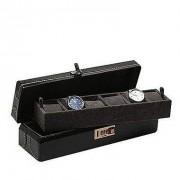 Donare Porta Relógios com 06 Divisórias Couro Preta