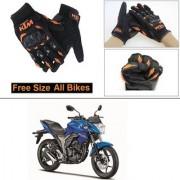 AutoStark Gloves KTM Bike Riding Gloves Orange and Black Riding Gloves Free Size For Suzuki Gixxer