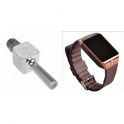 Zemini DZ09 Smartwatch and Q7 Microphone Karrokke and Bluetooth Speaker for LG OPTIMUS L3 II DUAL(DZ09 Smart Watch With 4G Sim Card Memory Card| Q7 Microphone Karrokke and Bluetooth Speaker)