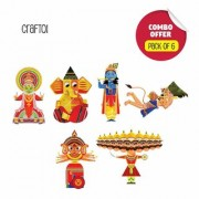 Toiing CrafToi Combo-3D DIY Paper Craft Kit Toy for Indian Festivals-Pack of 6
