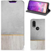 Motorola One Vision Book Wallet Case Wood Concrete
