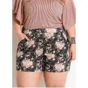 Short com Bolso Funcional Floral Cintura Alta