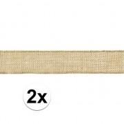 Merkloos 2x Rol jute lint 5 x 500 cm cadeautjes verpakken