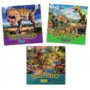 Ceaco 100 Piece Dinosaur Puzzle Set: 3 Glow In The Dark Dinosaur Puzzles - T-Rex, Stegasaurus and Other Dinosaurs