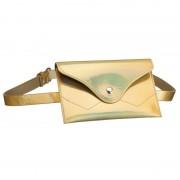 Merkloos Metallic goud mini buideltasje aan riem voor dames