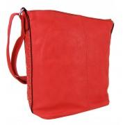 Velká dámská crossbody kabelka / pytel 1586-BB červená