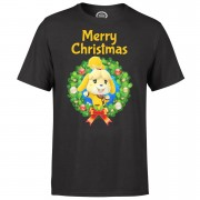 Nintendo Animal Crossing Merry Christmas Kerstkrans Heren T-shirt - Zwart - M - Zwart