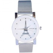 KDS Wenlong White Round Dial Silver Stainless Steel Crystle Glass Stylist Analog Watch For Women