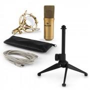 MIC-900G-LED USB Mikrofonset V1   goldenes Kondensator-Mikrofon Tischstativ