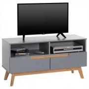 IDIMEX Meuble TV TIBOR, 2 tiroirs et 2 niches, lasuré gris