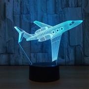 Bella House Aviones Control remoto 3D ILLusion Luz de la noche Impresionante Colores visuales Cambio de mesa Escritorio Lámpara óptica Dormitorio Habitación de los niños Decorativo Hogar Luz nocturna