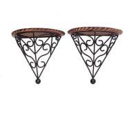 Onlineshoppee Wooden & Iron Fancy Design Wall Bracket/Rack Size(LxBxH-8x4x8)Inch