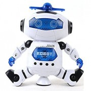 Bighub Asdomo Smart Space Walking Electronic Robot Dancing Pets 360° Rotate Electric Music Light Toy Battery Powered with Lights and Music Kids Gift