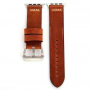 Voor Apple Watch serie 3 & 2 & 1 42mm Retro XX lijn patroon lederen pols horloge Band (koffie)
