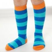 Organic Kneehigh Sock Stripe Blue Turquoise: 18-20