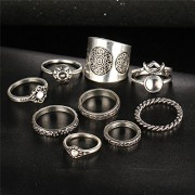 2017 New Akira 9 pcs Vintage Silver Color Ring Sets Antique Midi Finger Rings