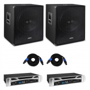 Vonyx Bass Storm DJ PA комплект, 2 x PA усилвател 500 W, 2 x PA субуфер 600 W (2x2626+34287)