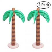 aniann Inflatable Palm Tree Decoration, 2 Pack Jumbo Coconut Trees Beach Backdrop Favor Tropical Blow up Hawaiian Summer Party Decor for Hawaiian Luau Party Decoration