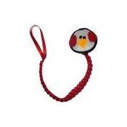 Prendedor de Chupeta Fuxicos & Frescuras Linha Bebê com Pinguim Vermelho