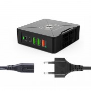 PD-75W Type C+USB A+PD+QC3.0 Fast Charger Wireless Charger for iPhone Samsung Huawei - EU Plug