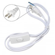 1.8M US Plug White Wire Extension Line Cable On Off Switch Power Cord For LED Light Lamp