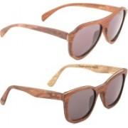 Wood Eye Aviator, Rectangular Sunglasses(Grey)