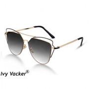 Ivy Vacker Metal Nose Doule Bar Retro Luxurious Double Shaded Rectangular Sunglass for Women