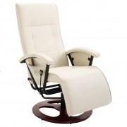vidaXL Masujący fotel elektryczny ze skóry syntetycznej, kremowy