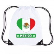 Shoppartners Mexico hart vlag nylon rugzak wit