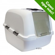 Тоалетна за котки Catit Jumbo White Tiger - бяла с тигрова шарка