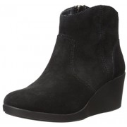 crocs Women's Leigh Suede Wedge Boot, Black, 10. 5 M US
