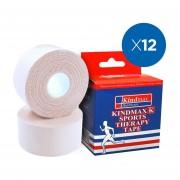 Pack 12x Venda Rígida Kindmax Tipo Leukotape Blanco 5 Cm x 13,7 Mt