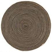 vidaXL Ručne vyrobený jutový koberec, špirálova potlač, čierny 150 cm