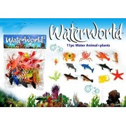 SMALL BERRY Water World 11 pc Water Animal + Plants Ocean/Water/Marine Animals Figures Set for Kids(Multi Colour)