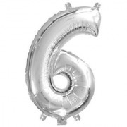 Stylewell Solid Silver Color Single Number Six (6) 3d Foil Balloon for Birthday Celebration Anniversary Parties