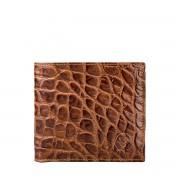Dunkelbraune Herren Geldbörse in Kroko mit Münzfach - Brieftasche, Portemonnaie, Geldbeutel, Kreditkartenetui