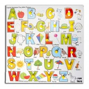 ydv toys Y.D.V TOYS Wooden Capital Alphabet Tray with Picture Knobs, Multi Color wooden toys for baby kids 3years educationalgifts for toddler boy girl trays abcd 2years 4 years children infants 1 old also puzzles toddlers with 24 knob abc puzzle shape bo