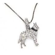 Argento 925 : MyDog collana veneziana pendente cane di razza pave' zirconi microsetting (Pastore Tedesco)