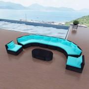 Set mobilier de grădină, poliratan, albastru tropical