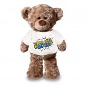Bellatio Decorations Word snel beter pluche teddybeer knuffel 24 cm met wit t-shirt