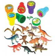 Fun Land 24 Dinosaur Collection Set 12 Dinosaurs And 12 Dino Stampers,