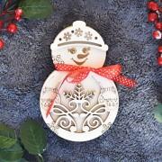 Cutie de Crăciun om de zăpadă cu 10 globuri fulgi